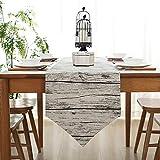 Bestenrose - Camino de mesa para decoración de mesa, 2 páginas, algodón, lino, clásico, para comedor, fiestas, vacaciones, decoración, Madera, 32*180cm