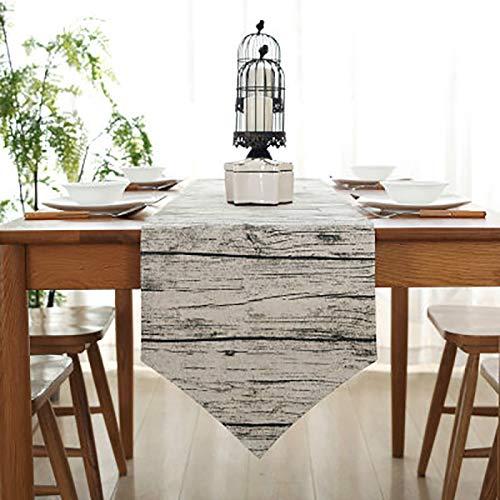 Bestenrose liefern Tischläufer/Tischdecke Dekoration 2 Seiten Baumwolle Leinen Klassische Tischwäsche Matte für Esszimmer Party Urlaub Dekoration (Hölzern, 32 * 120cm)
