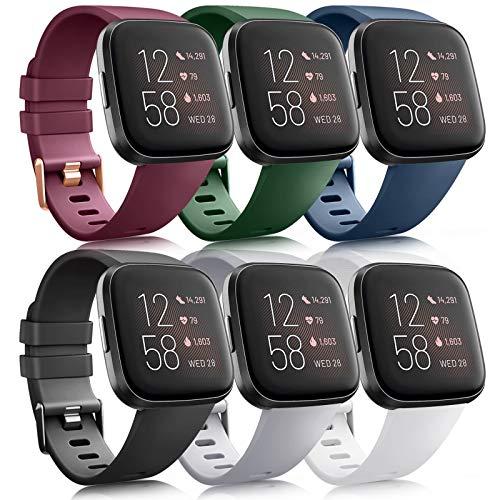 Oumida 6 Pack Kompatibel für Fitbit Versa 2 Armband/Fitbit Versa Armband, Silikon Sport Klassisch Ersatzarmband Kompatibel für Fitbit Versa 2/Fitbit Versa/Fitbit Versa Lite (C, L)