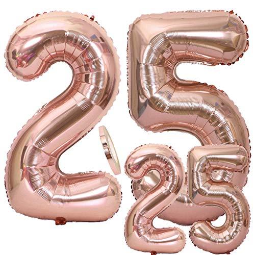 Luftballons 25. Geburtstag XXL Rose Gold, Riesen Folienballon Zahl 25 in 2 Größen 40