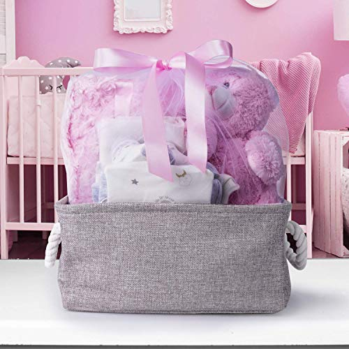 Baby Gift Basket, Newborn Boy or Girl Teddy Bear Stuffed Animal Shower Gifts (Girl, Baby)