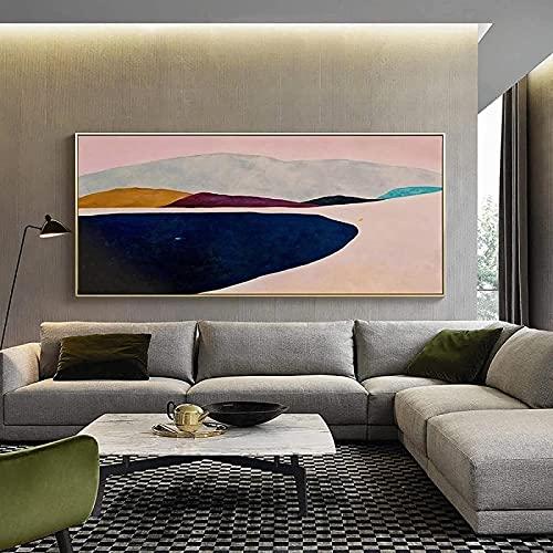 Lienzo arte de la pared 50x100 cm sin marco bandera larga cartel nórdico abstracto montaña lago arte de la pared dormitorio sala de estar de gran tamaño decoración del hogar