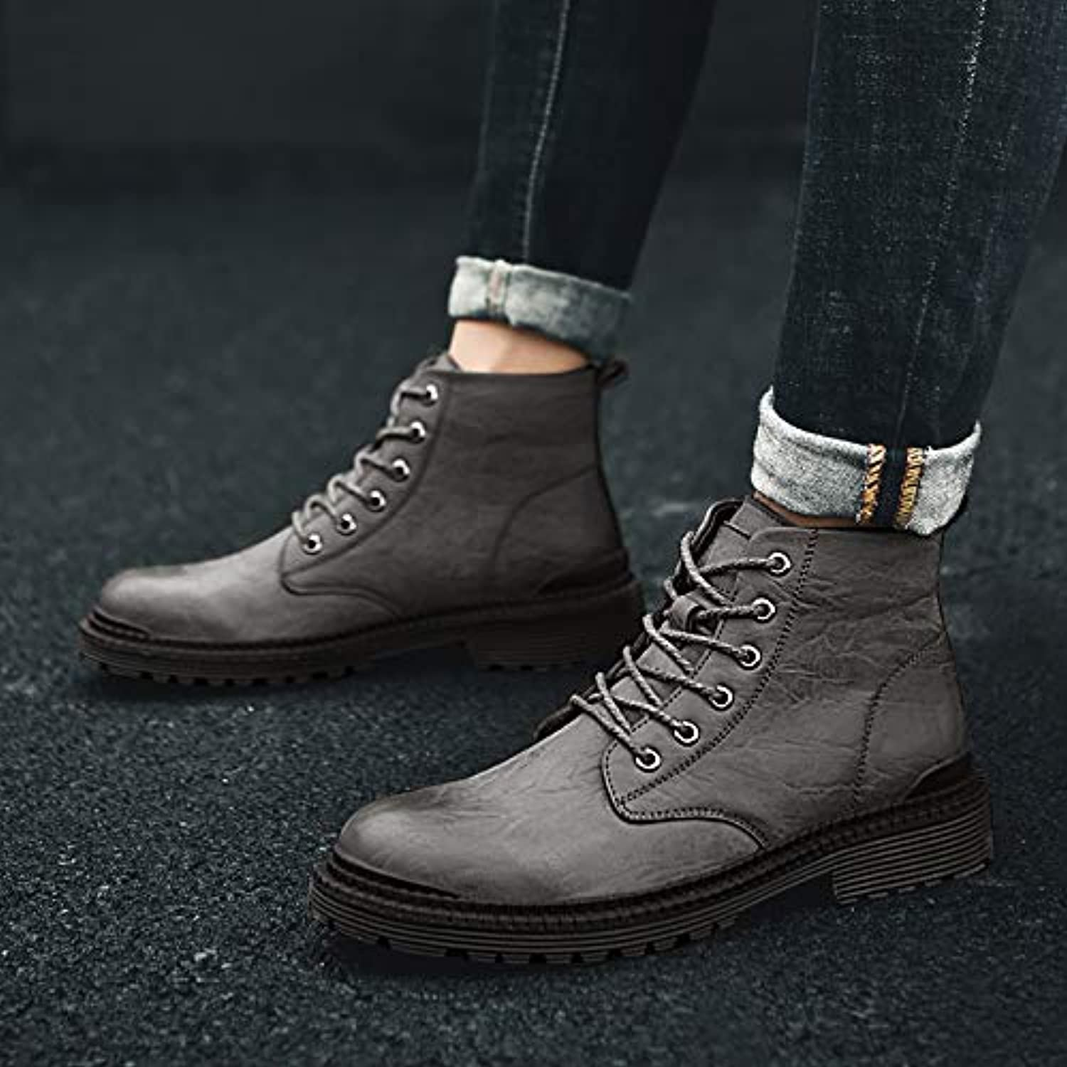 LOVDRAM Boots Men's Winter Men'S shoes Martin Boots Men'S Casual Tooling Boots Boots In The Desert To Help Military Boots Pu High Boots