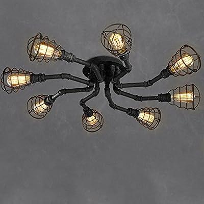 4 Lights Industrial Cage Pipe Pendant Light-LITFAD Retro Rustic Iron Black Vintage Hanging Pendant Lamp Edison Ceiling Chandelier Semi-Flush Fixtures