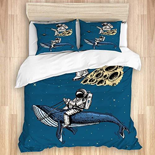 Juego de funda nórdica de 3 piezas, astronauta astronauta con caña de pescar en la luna, galaxia, ballena azul espacial entre los planetas del sistema solar, colcha de dormitorio con cremallera y 2 fu