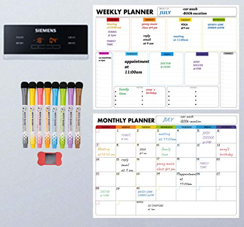 Magnetic Dry Erase Whiteboard Sheets for Monthly, Weekly & Versatility Calendars, Multifunction Schedule Planner & Organizer, 8 Markers & Eraser with Strong Magnet