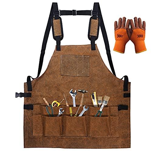 Delantal de trabajo de carpintería resistente con espalda cruzada para mujeres y hombres, con 9 bolsillos para herramientas, delantal de lona encerada ajustable, regalo para carpintero (marrón)