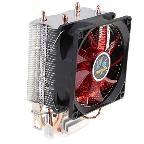 Toygogo Ventilador de Refrigeración Silencioso para CPU, Cable de 4 Pines, 12 LED RGB, Disipador de Calor para CPU - Rojo