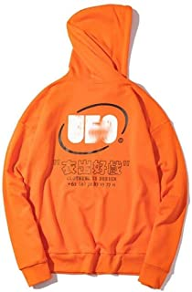 Sweatshirts European and American Men's and Women's Hooded Sweatshirts, Couples Loose Long-Sleeved Pullovers, with Kangaroo Pockets (Color : Orange, Size : XL)