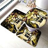 YU-GI-OH! Suite - Juego de alfombras antideslizantes de baño para sala de estar, almohadillas antideslizantes para baño, contorno y tapa de inodoro