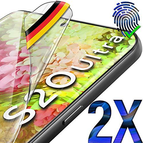 UTECTION 2X Schutzfolie für Samsung Galaxy S20 Ultra - Fingerabdruck kompatibel - Premium Folie KEIN Glas - Hüllenfre&lich - Anti Kratzer Bildschirmschutzfolie HD Ultra Clear - Bildschirmfolie