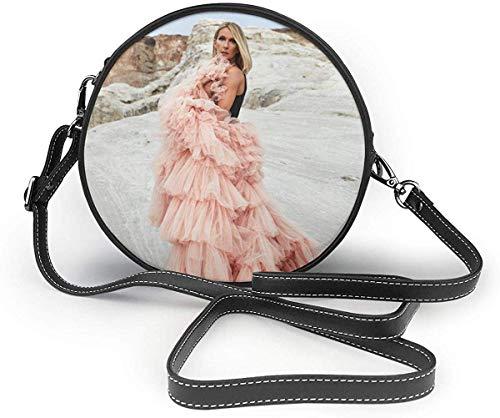 gxianyuyib Frau Celine Dion Small Crossbody Runde Umhängetasche Mode Dame Crossbody Brieftasche und Handtasche Kaffee