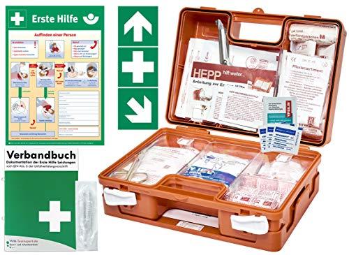 Erste Hilfe Kasten -Komplettpaket- DIN/EN 13157 für BÜRO & BETRIEBE + DIN/EN 13164 für KFZ - INKL. 1. Hilfe AUFKLEBER & AUSHANG + Verbandbuch (Perforierte Seiten)