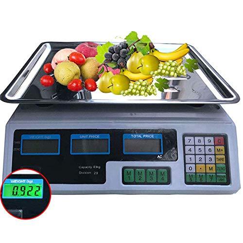 ZJZ Básculas de conteo Báscula electrónica Digital Básculas industriales, 40 kg Pesaje de Frutas Digital Escala de Precios de cómputo