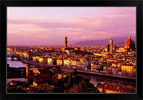 CANVAS ON DEMAND Italy, Florence, Firenze, Tuscany, A View of The Town from Piazzale Michelangelo Black Framed A.