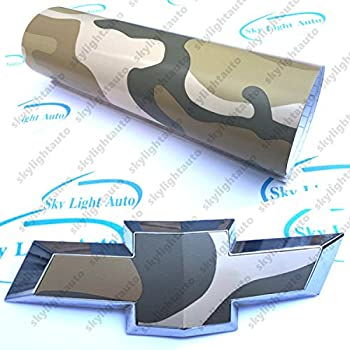 skylightauto 2pcs 11  x 4  Deset Camouflage Vinyl Sheets Cut-Your-Own Decal for Chevy Bowtie Emblem Overlay Grill Trunk and Rear Logo DIY with Free Utility Knife