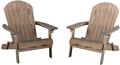 Christopher Knight Home Hanlee Folding Wood Adirondack Chairs, 2-Pcs Set, Grey Finish