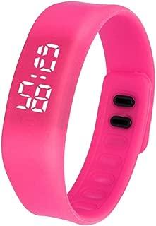 DamarkLED Sports Running Watch Date Rubber Bracelet Digital Wrist Watchch (Hot Pink)
