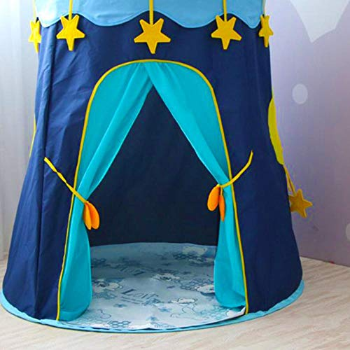 DAWANJU Kids Teepee - Space Themed Pretend Play Tent - Space Play House - Spaceship Tent For Kids - Foldable Pop Up Star Play Tent Blue