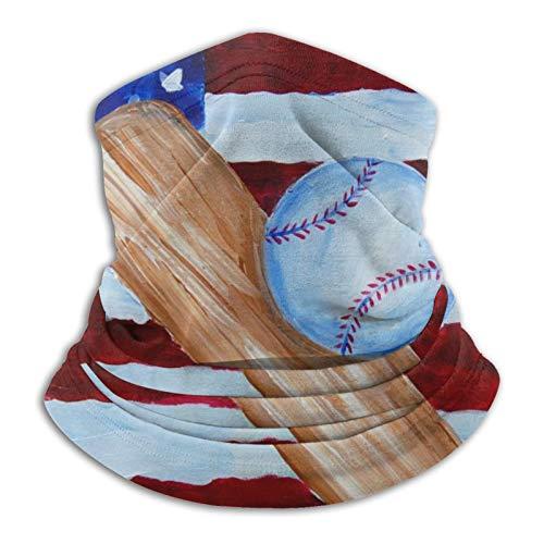 Bandera Americana Béisbol Pintura Calentador a prueba de viento Polaina Multifuncional Bufanda Bandanas Cara Máscara Negro