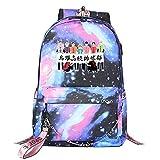 ZZGOO-LL Haikyuu!!Hinata Shoyo/Tobio Kageyama with Chain USB Mochila Backpack Casual Impermeable Viaje de Negocios con Unisex Starry Sky-B
