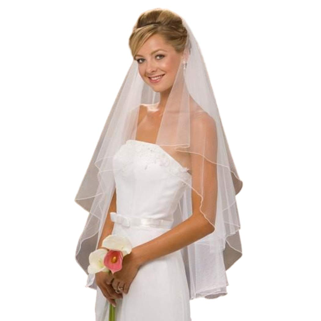 Zehope 2 Tier Bride Wedding Veil Short Bridal Veils Soft Tulle Wedding Veil with Comb and Pencil Edge (White)