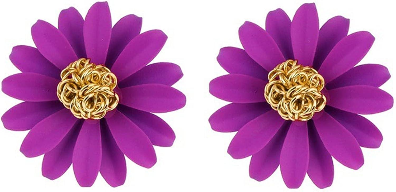 ONLYJUMP Bohemian Daisy Flowers Stud Earrings for Women Girl Fashion Red Yellow White Chrysanthemum Sunflower Statement Earrings