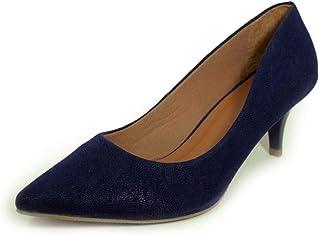 11e5ed8193 Scarpin Salto Baixo Fino Luiza Sobreira Nobuck Azul Marinho Mod. 645
