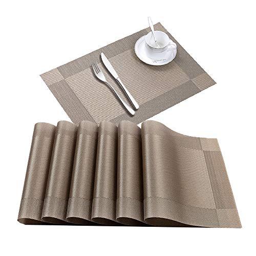 ランチョンマット おしゃれ プレースマット テーブルマット防水 防汚 洗える 滑り止め 食卓 華やか 家庭用 レストラン用 PVC製 スクエア・ライトブラウン 6枚セット