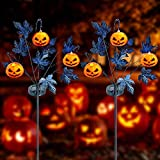 Brwoynn 30 Inches Solar Halloween Yard Decorations, Outdoor LED Solar Powered Pumpkin Halloween Pathway Lights, Metal Garden Stakes Lawn Yard Ornament, Set of 2