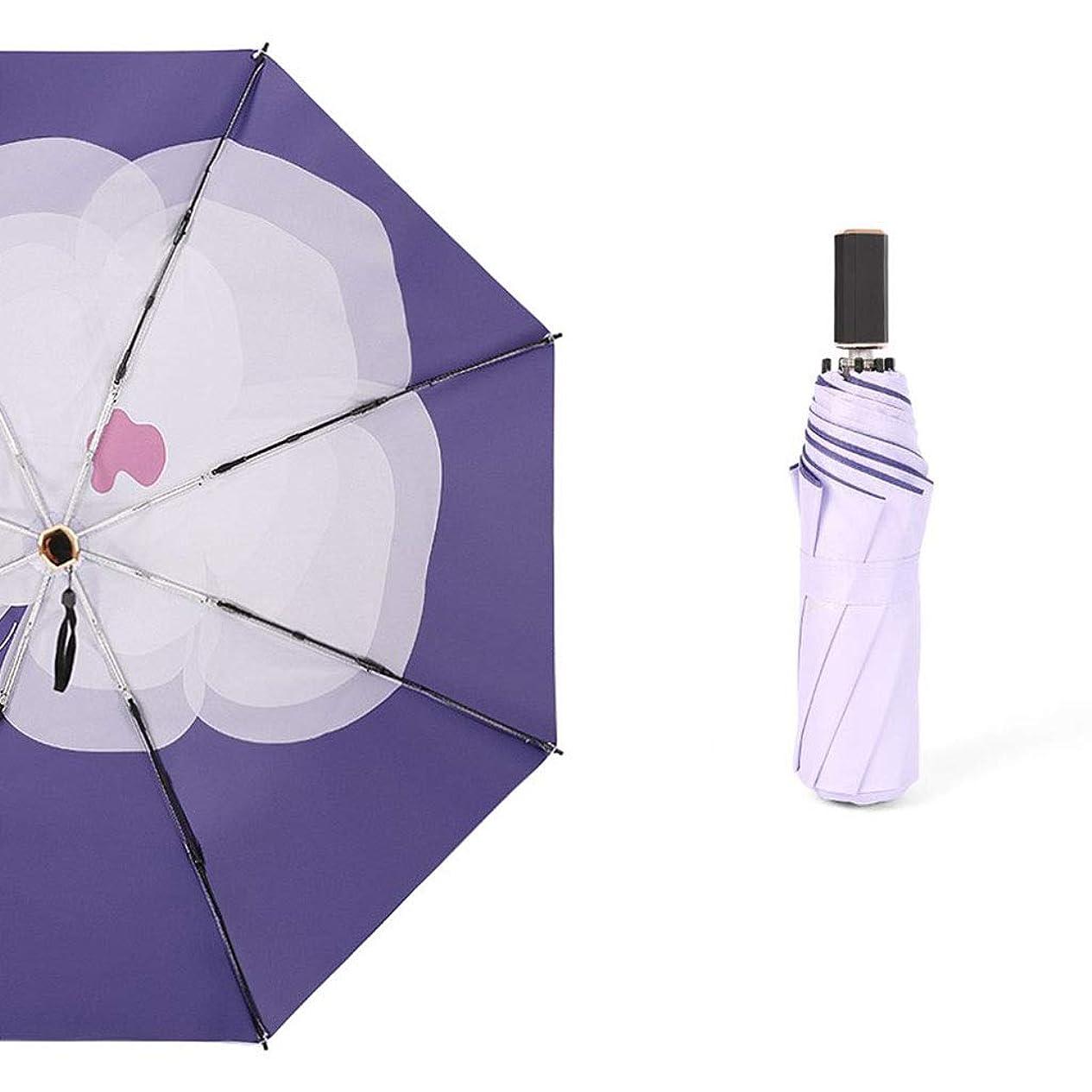 任命書道私達ラオハオクラシック傘 傘ポケット傘超軽量紫外線防止ポータブルデュアルユース風耐性速乾性93センチ×53センチ紫色の花 LAOHAO