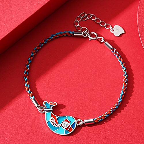 Lovers Bracelet Letters Of Love, Color Rope Braided Hand Rope S925 Silver Material, Skin-Friendly, Delicate And Beautiful, Good Meaning, You Have You For The Rest Of Life (Style : Color rope4)