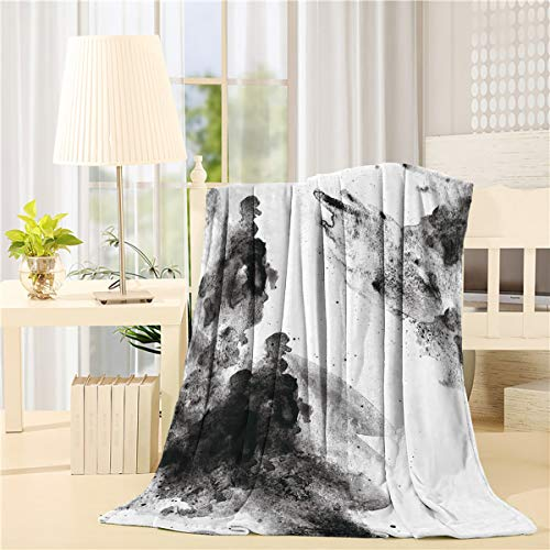 MuswannaA Flannel Fleece Throw Blanket Chinese Ink Painting Rock Sketch Ultra-Soft Lightweight Microfiber Fuzzy Blanket Cozy Warm Blanket for Couch Sofa Bed- 49''x59''