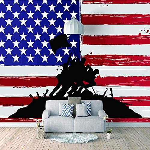 Paste Wall Mural American Flag Custom Murals Wallpaper Dining Room LivingRoom and Bedding Room Home Decor Wall Decals Mural Ceiling Custom size-450X300cm (177x118 inch)
