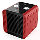 HeiPard Mini Ceramic Fan Heater - Comfort Compact Auxiliary Heating, Hot Cold Ventilation 2 Temperature Settings - 1500W Silent Red