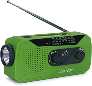 Emergency NOAA Weather Radio, AM/FM WB Weather Radio, Solar, Hand Crank with LED Flashlight, Charging Indicator & Earphone Jack Upgrade to 2000mAh Power Bank Phone Charger (Green)