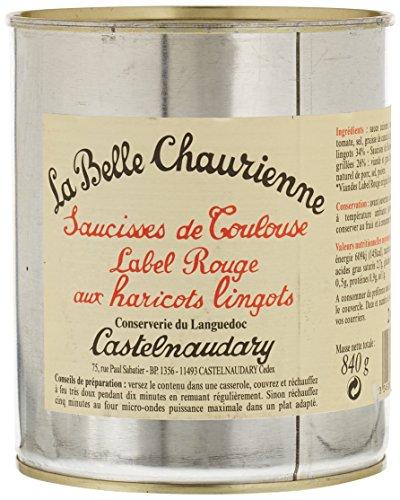 La Belle Chaurienne Saucisses de Toulouse Label Rouge aux Haricots Lingots 840 g