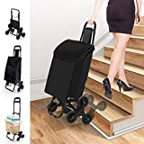 VOUNOT Folding Shopping Trolley on 3 Wheels, Waterproof Grocery Stair Climbing Foldable Cart, 30L