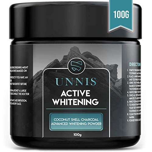 100% Natürliche Aktivkohle Pulver Zähne | Groß 120ML Kokosnuss Zahnaufhellung für weiße Zähne mit Calcium Schutz | Zahnbleaching Zahnpasta | Bleaching Activated Charcoal Teeth Whitening Powder