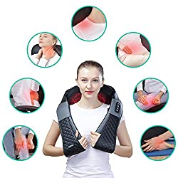 Shiatsu Neck Back Shoulder Massager - Electric Neck and Back Massager with Heat, Deep Tissue 3D Kneading Massage Pillow for Leg, Body Muscle Pain Relief, Used for Home, Office, and Car