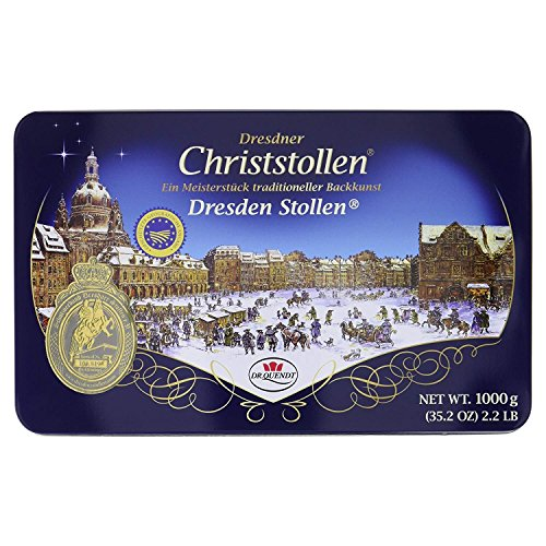 Original Dresdner Christstollen 1 kg in Metalldose Dr. Quendt