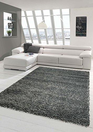 Traum Shaggy tapis Shaggy pile longue tapis tapis de salon Patterned en Uni Conception Gris Größe 160x230 cm