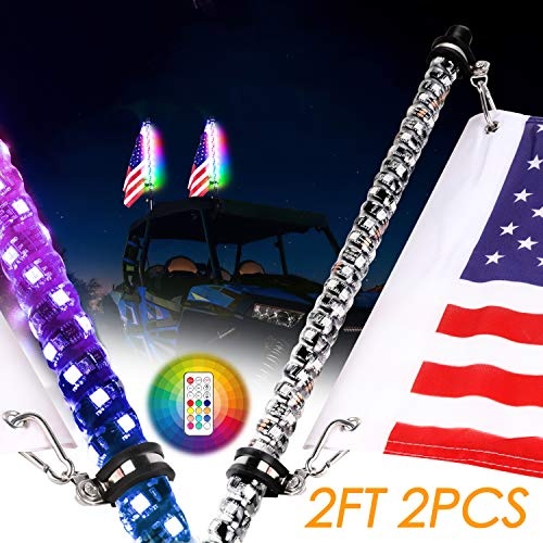 Nirider 2PCS 2ft LED Whip Lights with Flag Pole Remote Control Spiral RGB Chase Light Offroad Warning Lighted Antenna LED Whips for UTV, ATV, Off Road, Truck, Sand, Buggy Dune, RZR, Can-am, Boat