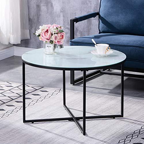 GOLDFAN Marmor Couchtisch rund Glas Wohnzimmer Mitteltisch mit schwarzem Metallrahmen Moderne Seite Sofatisch Weiß