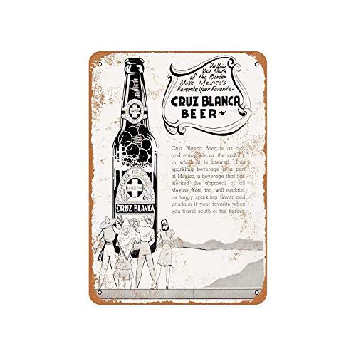 No Branded Placa de metal para decoración de pared con diseño de cerveza mexicana de 1941 Cruz Blanca
