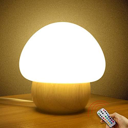 SUNNIOR - Lampada portatile a LED multicolore, simpatico fungo in silicone che cambia colore, ideale per la cameretta dei bambini, con telecomando, con luce fioca, priva di bisfenolo A (spina UK)