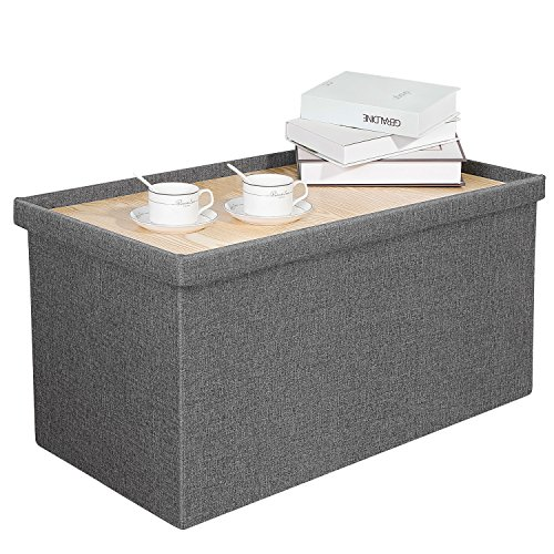 Bonlife Storage box with lid Grey Linen Ottoman Storage with Tray Chest Foldable Long Bench Coffee Table,Support 350lbs,76.5x40.5x38CM