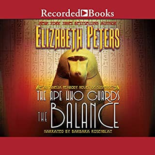 The Ape Who Guards the Balance     The Amelia Peabody Series, Book 10              By:                                                                                                                                 Elizabeth Peters                               Narrated by:                                                                                                                                 Barbara Rosenblat                      Length: 15 hrs and 7 mins     1,377 ratings     Overall 4.6