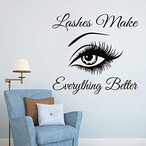 Wimpern machen alles besser Augenbrauen Wimpern Wandaufkleber Kunst Zitat Vinyl Aufkleber Make-up Dekoration Fenster Wandbilder Wimpern Wandaufkleber44x42cm