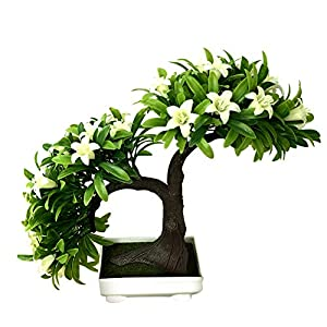 Fake Flowers Foam Potted Artificial Flower Bonsai Faux Plants Stage Garden Wedding Home Party Decor White